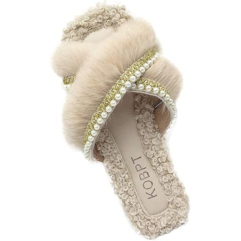 KOBPT Women's Slippers Fluffy Plush Cozy Open Toe Cross Band Indoor Outdoor Shoe - X-Large