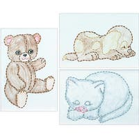 """Stamped Embroidery Kit Beginner Samplers 6""""X8"""" 3/Pkg-Huggable Animals - White"""
