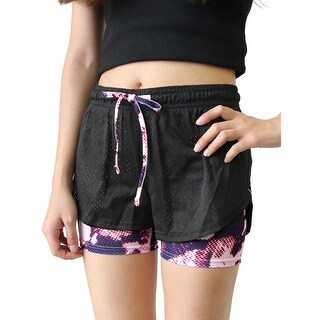 Women Black Pink Size L Quick Dry Mesh Gym Yoga Workout Fitness Sport Shorts