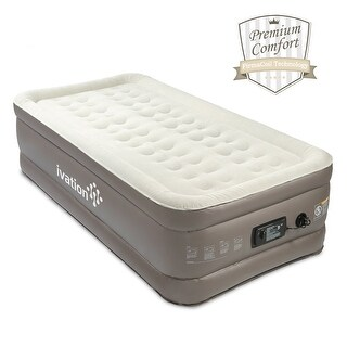 Ivation Premium Comfort Inflatable Air Mattress (Twin) Blow Up Air Bed w/14 Dual Coils