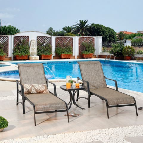 PATIO FESTIVAL Outdoor 3-Piece Chaise Lounger Set with Side Table