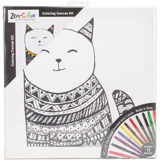 """Adult Coloring Canvas 12""""X12"""" W/12 Markers-Cat"""