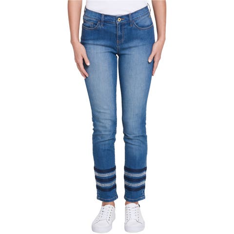 Tommy Hilfiger Womens Studded Straight Leg Jeans
