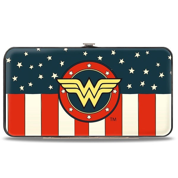 Wonder Woman Logo Americana Red White Blue Yellow Hinged Wallet - One Size Fits most