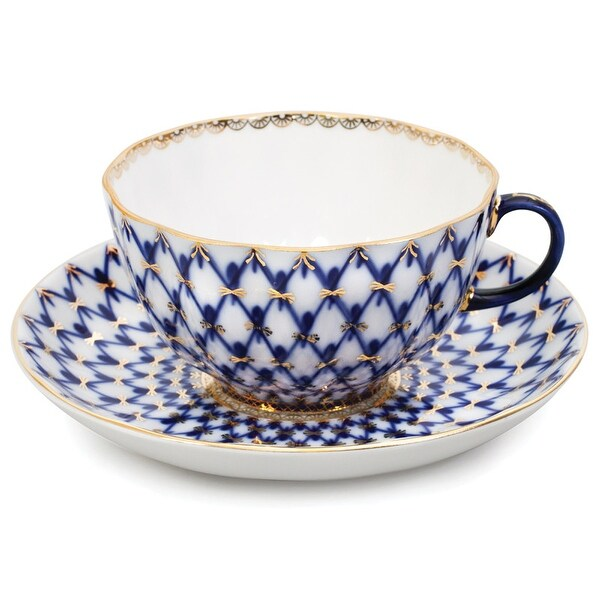 Imperial Porcelain Factory Tulip Cobalt Netting Teacup and Caucer. Opens flyout.