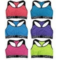 "Women 6 Pack Neon Color ""Sweet"" Band Matching Non-Padded Yoga Sports Bras - Thumbnail 0"