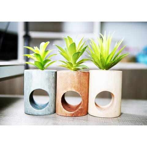 MODA MDW-108.2-879S wood pot with plastic plant - 3.23*8.27