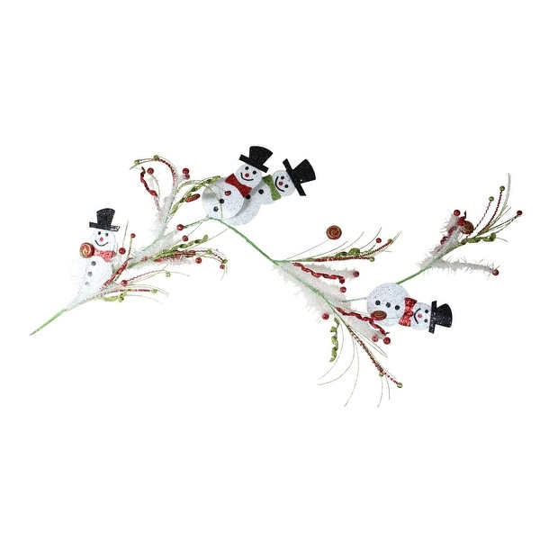 5' Metallic Sparkling Snowmen with Black Top Hats Christmas Garland with Swirls and Berries - green