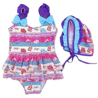 Wenchoice Little Girls Purple Blue Fashion Print Ruffle Cap Swimsuit (3 options available)
