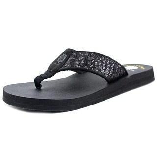Yellow Box Mercedes Women Open Toe Canvas Black Thong Sandal