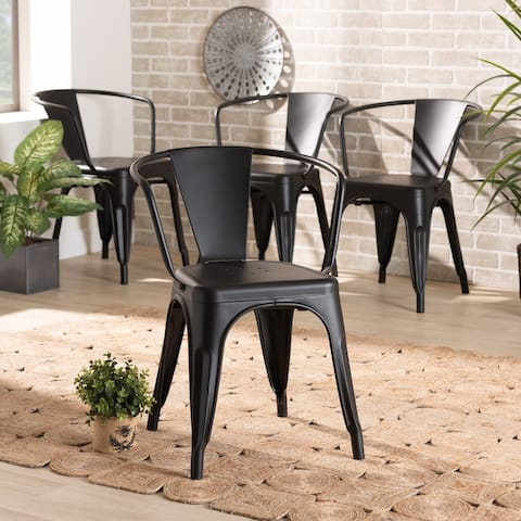 Ryland Modern and Industrial Metal Dining Chair Set (4PC)