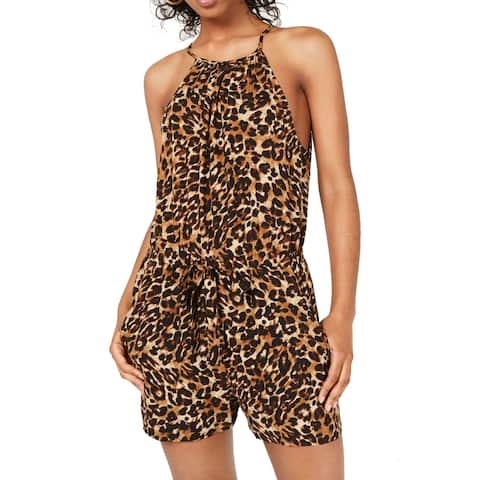 Bebop Romper Brown Size Medium M Junior Leopard Print Halter Keyhole