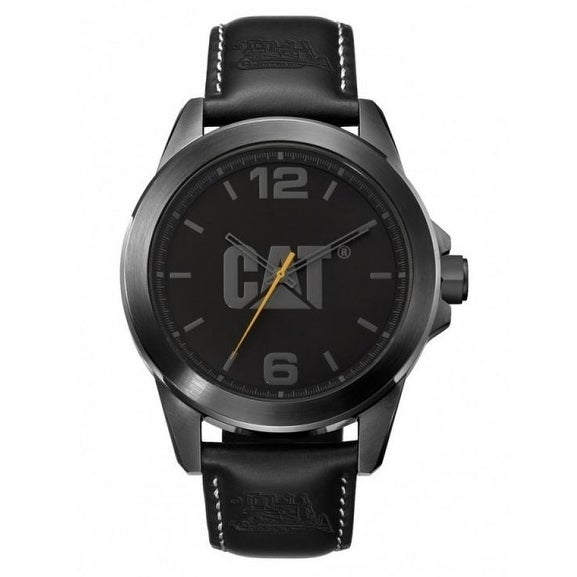 Mens Cat Black Leather Strap ICON Watch