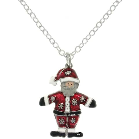 Pewter Enamel Holiday Santa Claus Charm Necklace
