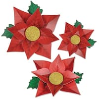 "Pack of 36 Printed Red Poinsettia Christmas Cutouts Decorations - 12.5"", 14.25"", 17"" - GOLD"