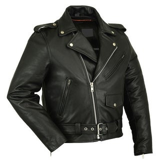 Men's Classic Plain Side Police Style Motorcycle Jacket