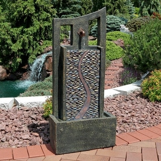 outdoor fountains with lights backyard sunnydaze modern road outdoor water fountain with led lights 39inch buy decor fountains online at overstockcom our