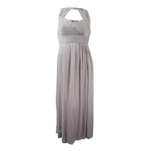 Alex Evenings Womens Jeweled Glittered Chiffon Gown - Pewter - 10