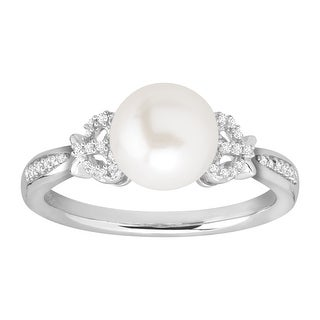 Honora 8-9 mm Freshwater Pearl Bow Ring with Diamonds in Sterling Silver