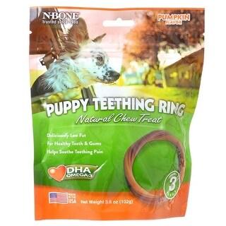 """N-Bone Puppy Teething Ring - Pumpkin 3 Pack - (3.5"""" Rings)"""