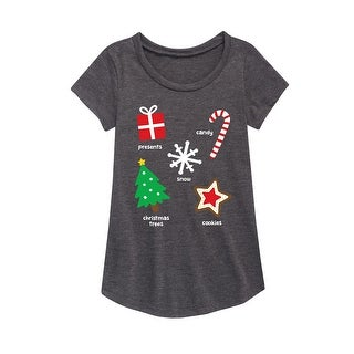 Christmas Things - Youth Girl Short Sleeve Curved Hem Tee