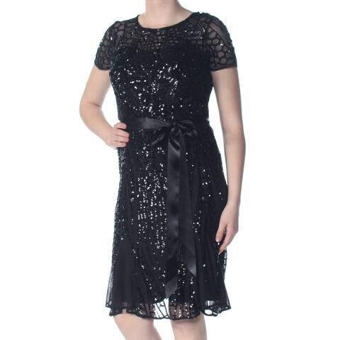 R&M RICHARDS Black Cap Sleeve Below The Knee Shift Dress Size 6