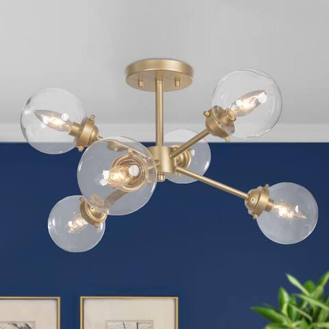 Modern Gold 6-light Glass Sputnik Semi-flush Mount Ceiling Lights