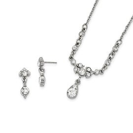 "Silvertone Downton Abbey Crystal 16"" Necklace and Earring Set"