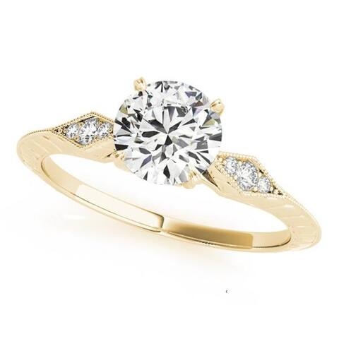 Auriya 14k Gold 1/2ct Vintage Moissanite and Diamond Engagement Ring 1/10ct TW
