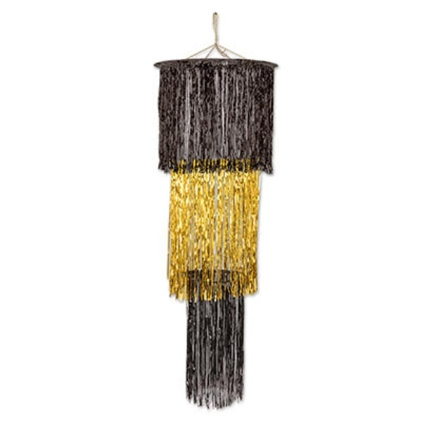 Pack Of 6 Shimmering 3 Tier Metallic Black And Gold Chandelier Hanging Party Decorations 4