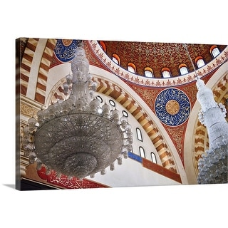 """""""Chandelier and domed ceiling detail of the Mohammed al-Amin Mosque"""" Canvas Wall Art"""