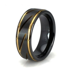 Grooved Gold Plated Black Ceramic Ring
