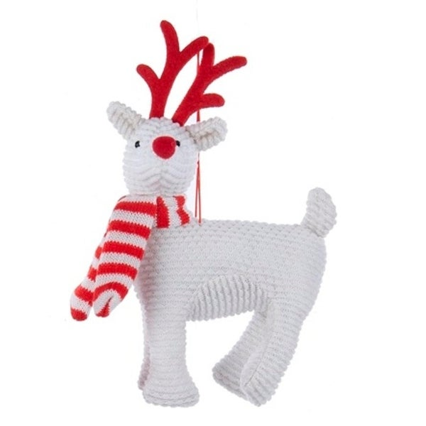 """7.5"""" Alpine Chic White and Red Reindeer Decorative Christmas Ornament"""