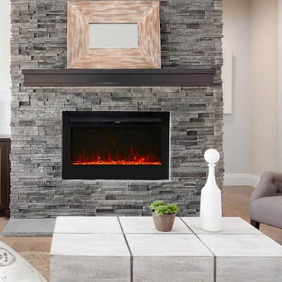 """Kinbor 36"""" Electric Fireplace in-Wall Recessed and Wall Mounted, 750/1500w Fireplace Heater with Remote Control, 12 Flame Color"""