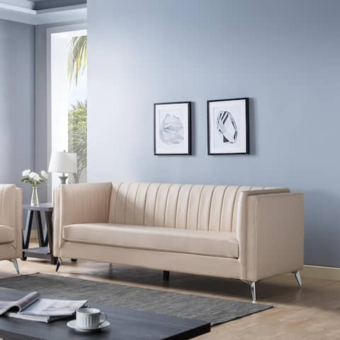Q-Max Elegant Sofa Set Featuring Pleated Back Design and Angled Metal Legs