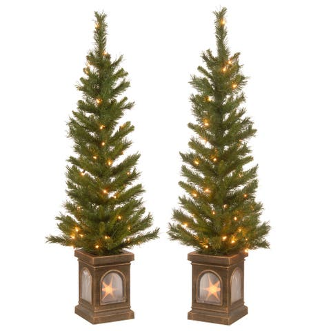 Lehigh Valley Clear Light Pine Entrance Trees (Set of 2)