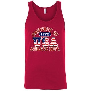 Men's Tank Top USA Flag Pride Property of Athletic Dept. 1776 Old Glory Patriotic