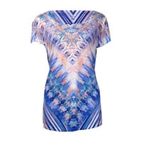 Style & Co Women's Printed High-low Sublimation Top - swimming past - m