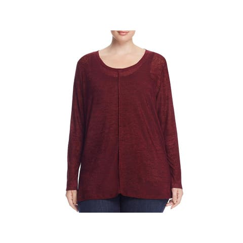 Lysse Womens Plus Sonnet Pullover Top Burnout Pinctuck