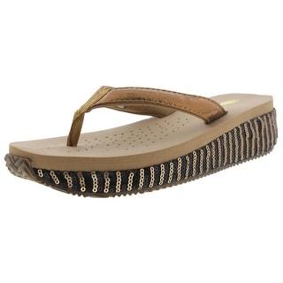Volatile Womens Silky 221 Sequined Wedge Slide Sandals - 7 medium (b,m)