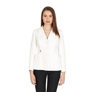 Dior Women's White Cotton Three Button Blazer - 4
