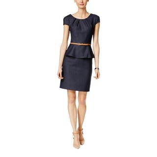 Connected Apparel Womens Petites Cocktail Dress Sheath Peplum