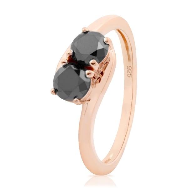 Prism Jewel 1.00 Carat Round Brilliant Cut Black Diamond 2-Stone Ring