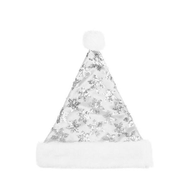 "14"" White & Silver Sequin Snowflake Christmas Santa Hat with White Faux Fur Brim - Medium Adult Size"