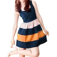 Dark Blue M Square Neckline Sleeveless Above Knee Mini Tank Dress for Woman - Dark Blue