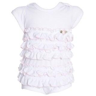 Laura Dare Baby Girls White Ruffle Floral Top Bloomer Pajama Set 6M