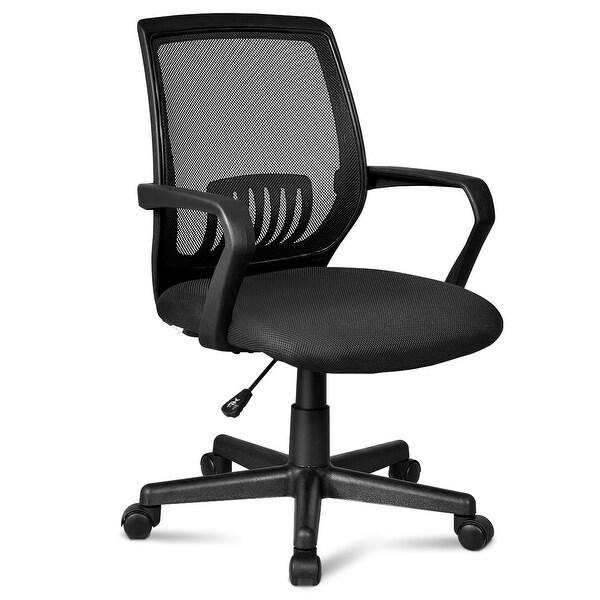 Shop Costway Office Chair Mesh Computer Desk Chair Lumbar ...