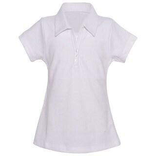 Class 102 Girls White Button Closure Classic School Uniform Polo Shirt