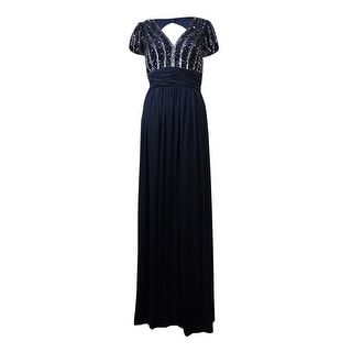 JS Collections Women's Sequined Stripe Empire Chiffon Gown - 12