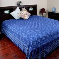 Handmade 100% Cotton Dabu Indian Tapestry Wall Hanging Tablecloth Bedspread Twin Full Queen Indigo Blue A